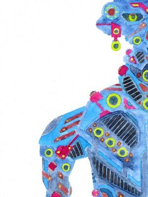 Robot 2 - Aquarell Illustration