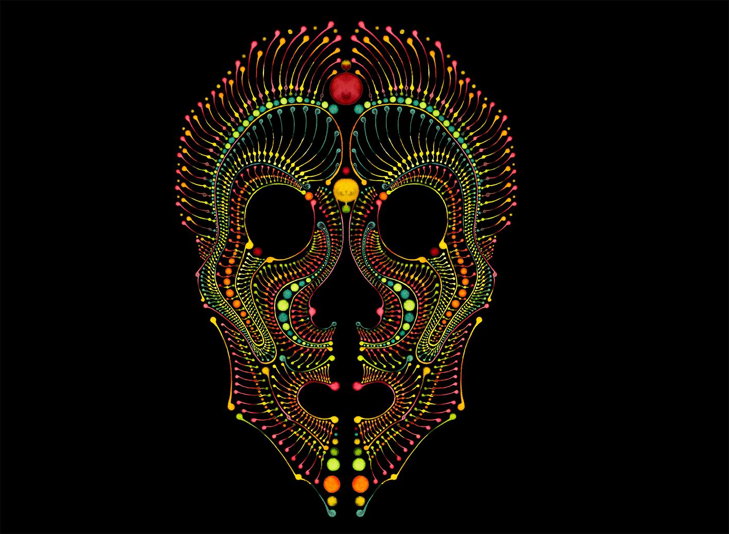Dotting art Skull V3 / Schädel / Maske – Watercolour painting