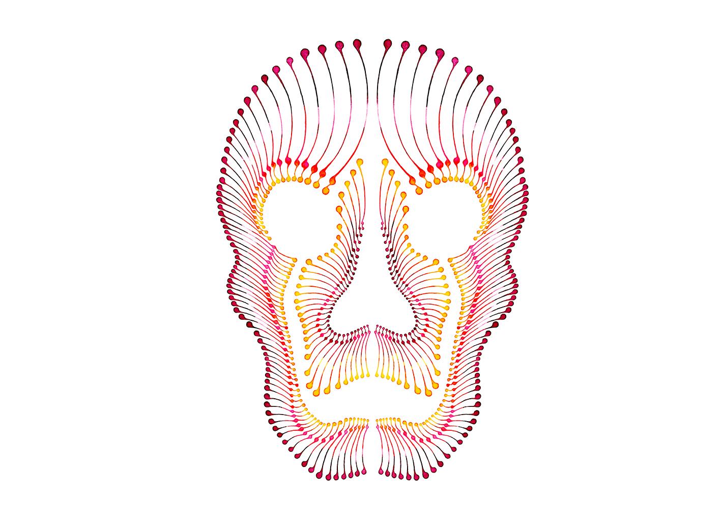 Dotting art Skull V4 / Schädel / Maske – Watercolour painting
