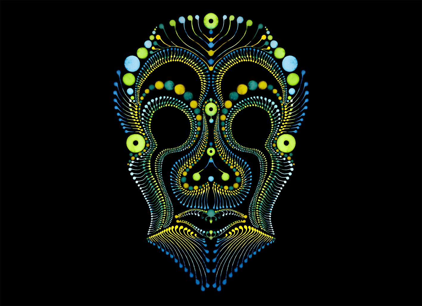 Dotting art Skull V5 / Schädel / Maske – Watercolour painting