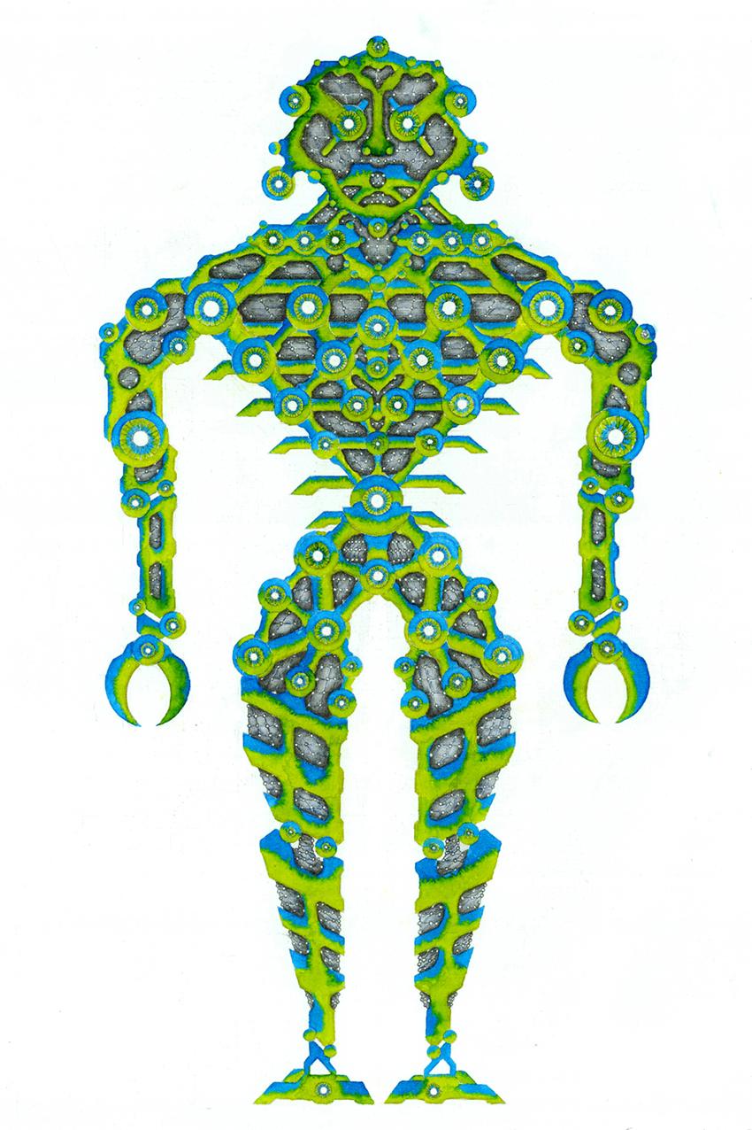 Robot Illustration - watercolour