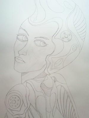 Space Girl Skizze