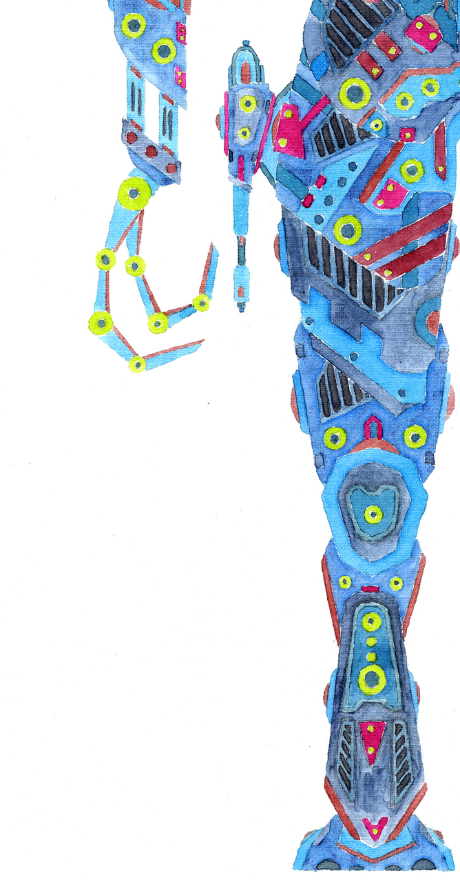 Robot 2 - Aquarell Illustration