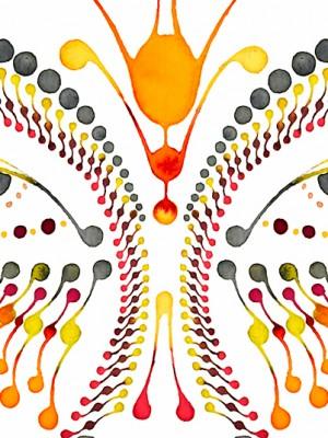 Dotting art - FACE V1 - Dotting - watercolour on paper - Ornament