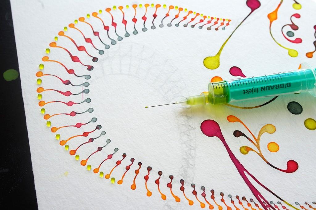 Watercolour ornament structure