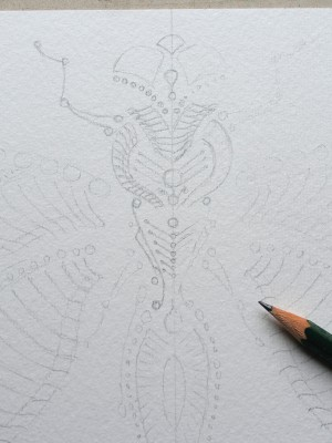 Dotting art - DRAGONFLY V1 - Skizze