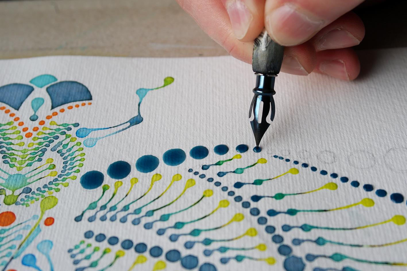 Dotting art - DRAGONFLY V1 – Watercolour on paper – Libelle Illustration