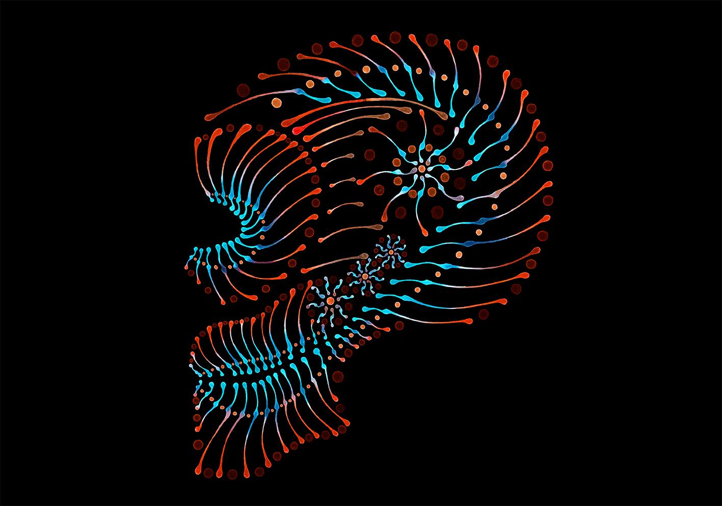 Dotting artwork - Skull Illustration, abstrakter Schädel, Aquarell Schädel