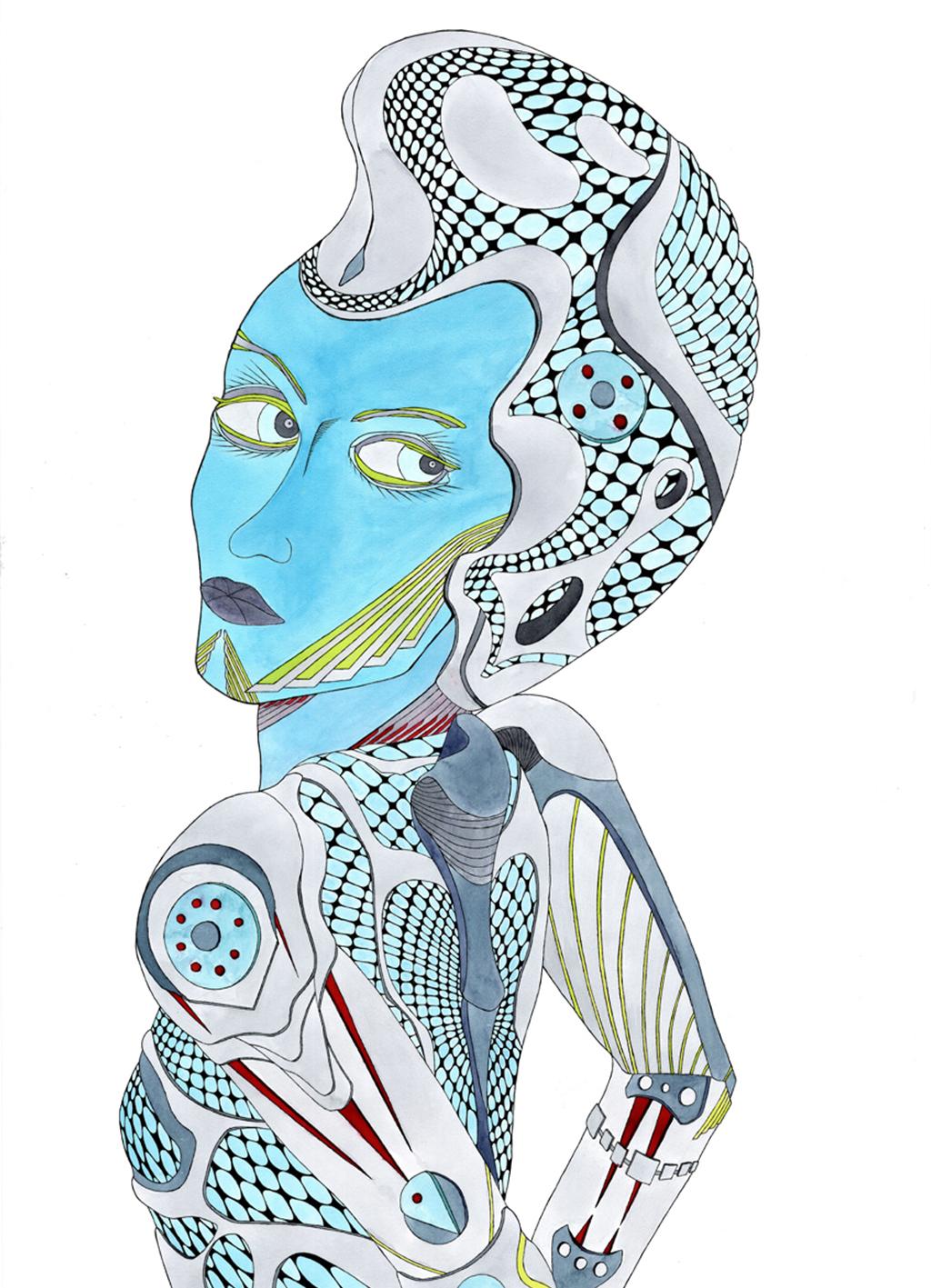 Illustration Girl - Frau in Blau
