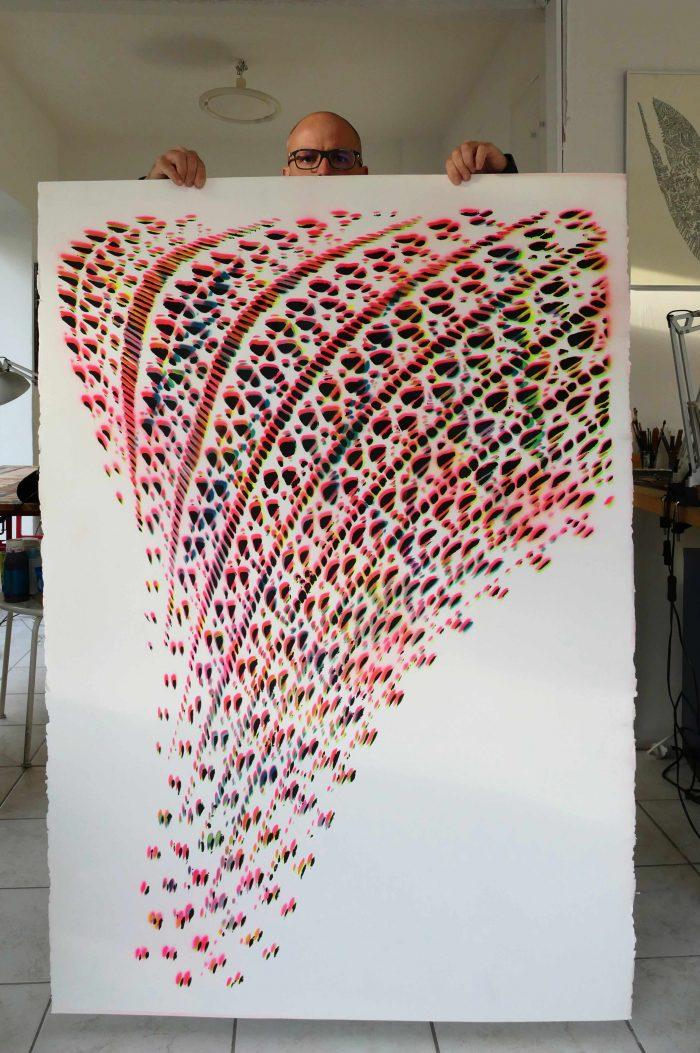 XXL Stencil Artwork fishnet tights