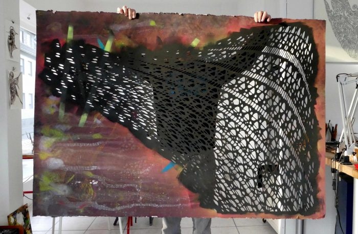 XXL Stencil Artwork fishnet tights