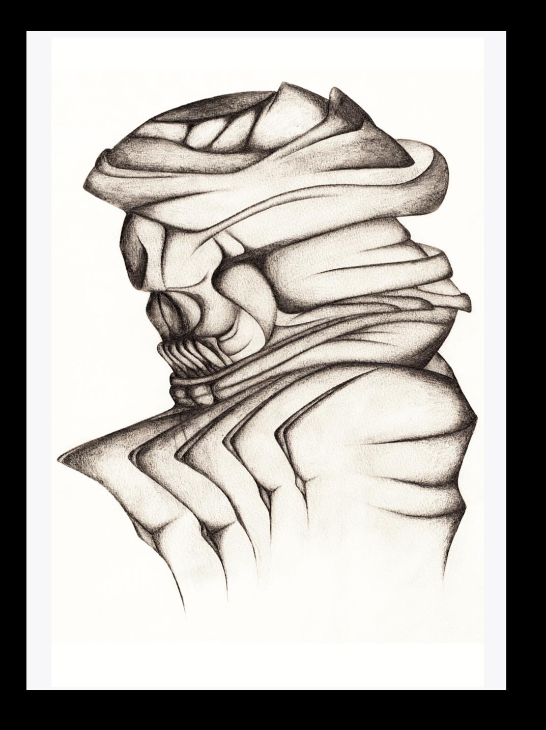 Abstract Skull Drawing